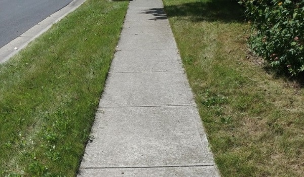 before edging sidewalk